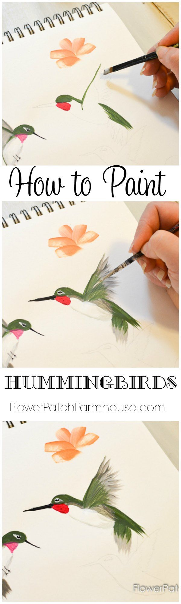 Come learn how to Paint a Hummingbird one stroke at a time. This quick and easy tutorial will have you painting beautiful hummingbirds in no time and it is so much fun! FlowerPatchFarmhouse.com