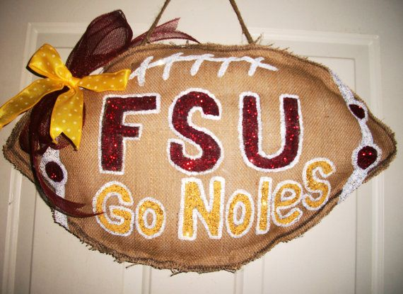 Florida State Univ BURLAP FOOTBALL Door Hanger by micmacms on Etsy, $25.00