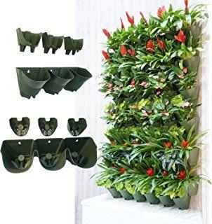 Worth Garden Selbstwässernder Vertikal-Übertopf, Blumentopf für Wandmontage, aufgehängte Blumentöpfe, Wand mit lebenden Pflanzen, Halter mit 3 Taschen und 3Filter-Schicht, perfekt für Innen- und Aussendekoration, Landschaftgestaltung oder wachsende Pflanzen