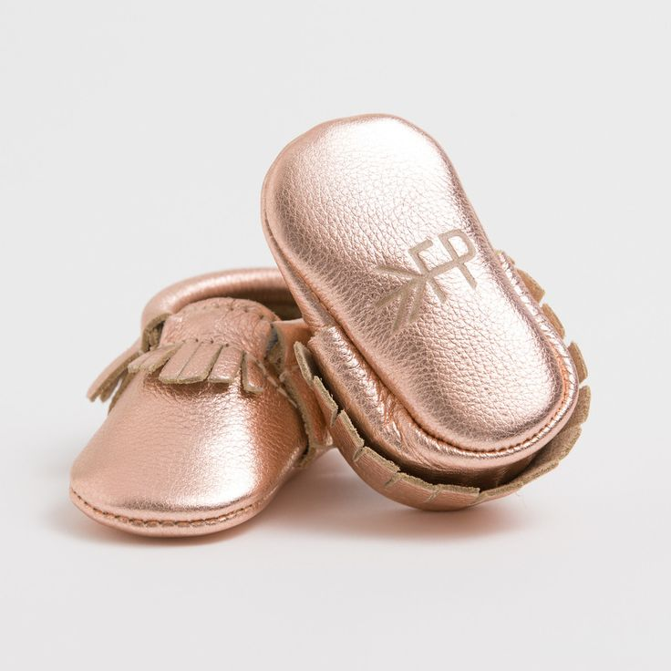 My new obsession!! Petite Rose Gold - Crib Moccasins
