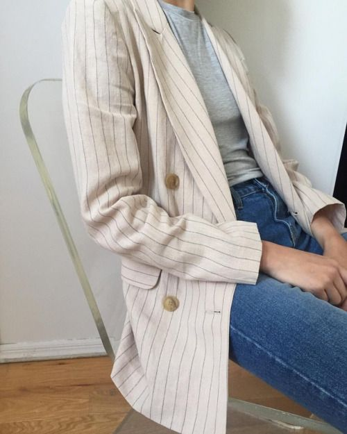 Love the idea of a long gooey blazer but not too big on the stripes