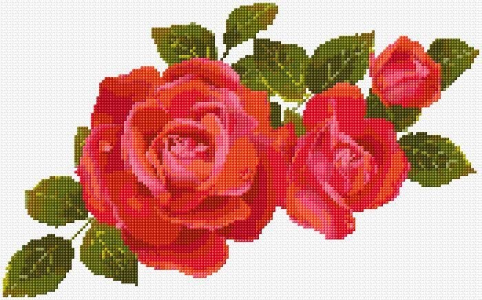 Cross Stitch | Red Roses xstitch Chart | Design