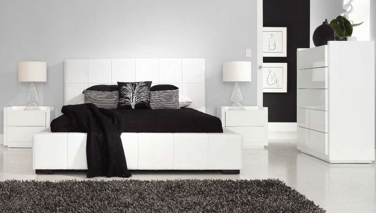 Drift Bedroom Furniture - Inviting, fully upholstered bed with wide contemporary bed base and bedhead. Clean, two pack high gloss case-goods to complement any modern bedroom.