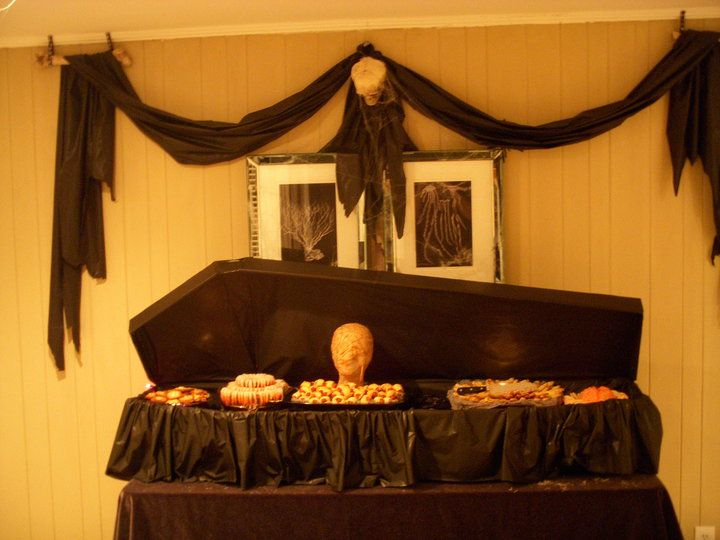 Coffin buffet - would LOVE this in my living room for our party this year!!!!