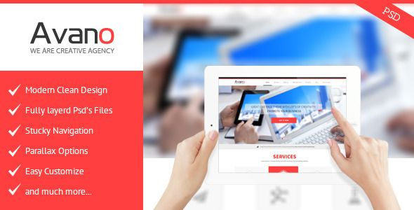 Avano One Page PSD Template