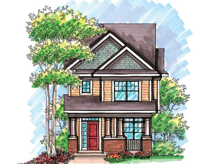 Narrow lot house plan 020h 0200 munising house ideas for Narrow bungalow house plans