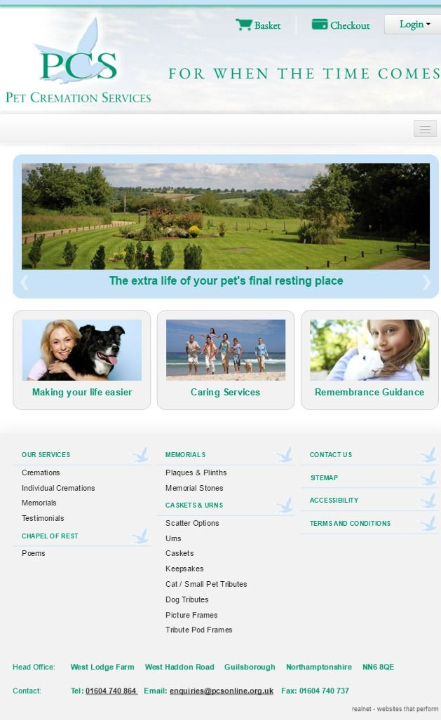PCS - Pet Cremation Services  Pet Cremation Services are a leading, individual pet cremation specialist. Their success has been achieved through their commitment to high quality and a sensitive service - Tablet display