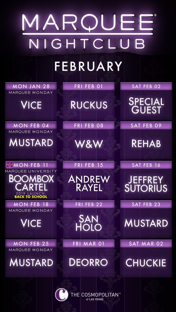 Las Vegas Calendar February 2019 Marquee Nightclub February 2019 Calendar | Las Vegas Nightlife in