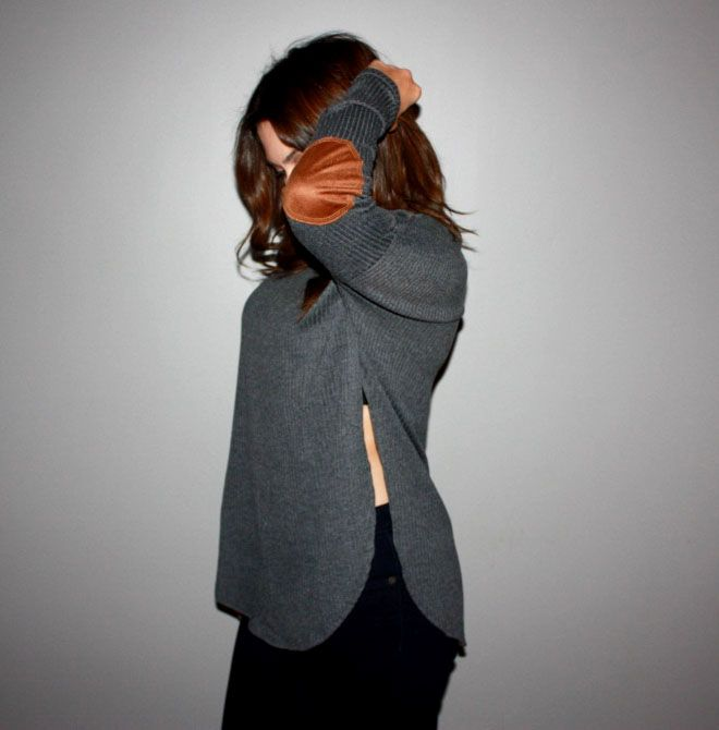 Grey side slit shirt with suede elbow patches