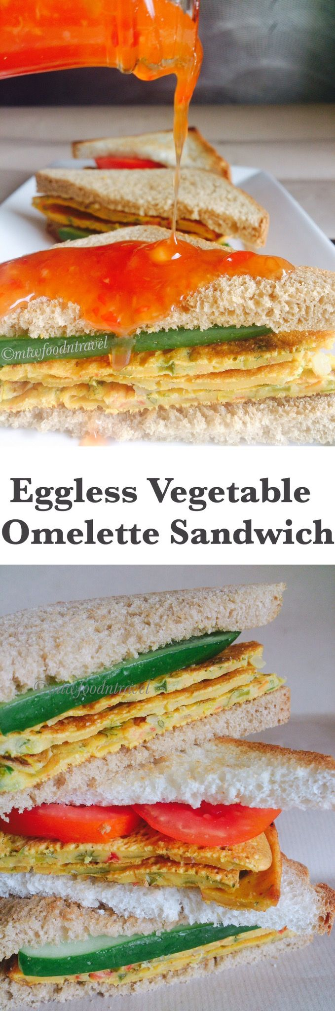 My Tryst With Food And Travel: EGGLESS VEGETABLE OMELETTE SANDWICH - HEALTHY KICK...