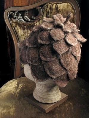 felt pinecone hat