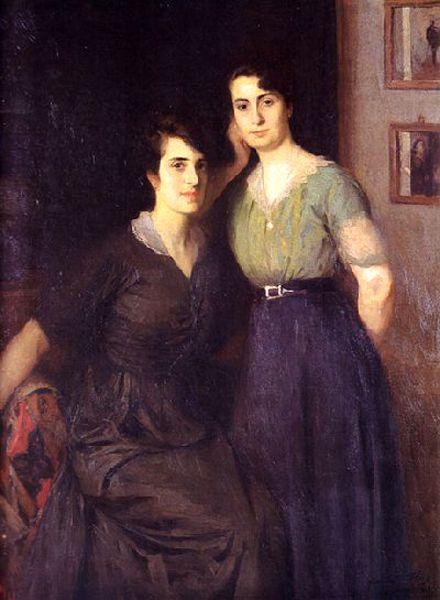 """""""mis hermanas"""" Antonio Alice, pintor argentino nacido en Buenos Aires el 23 de febrero de 1886; muerto en la misma ciudad el 24 de agosto de 1943."""