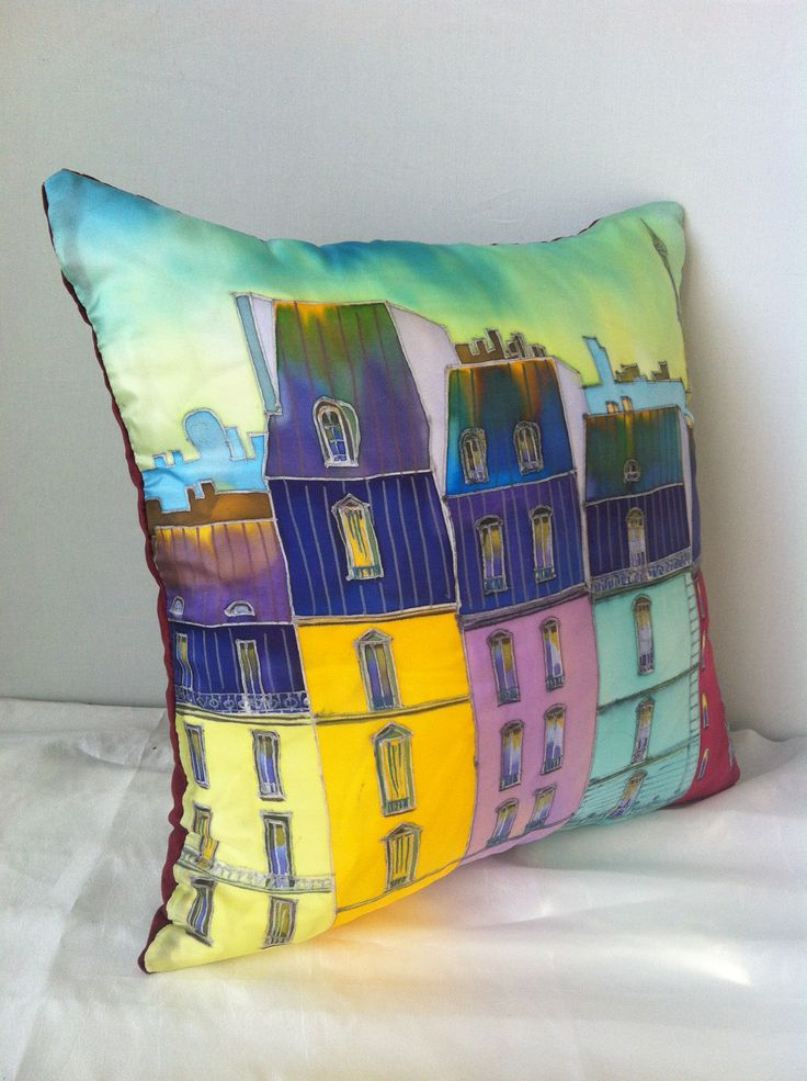 "The pillow silk&velvet.  With a romantic name ""Les toits de Paris"" Ioltukhovskaya Ekaterina art-and-travel.ru"