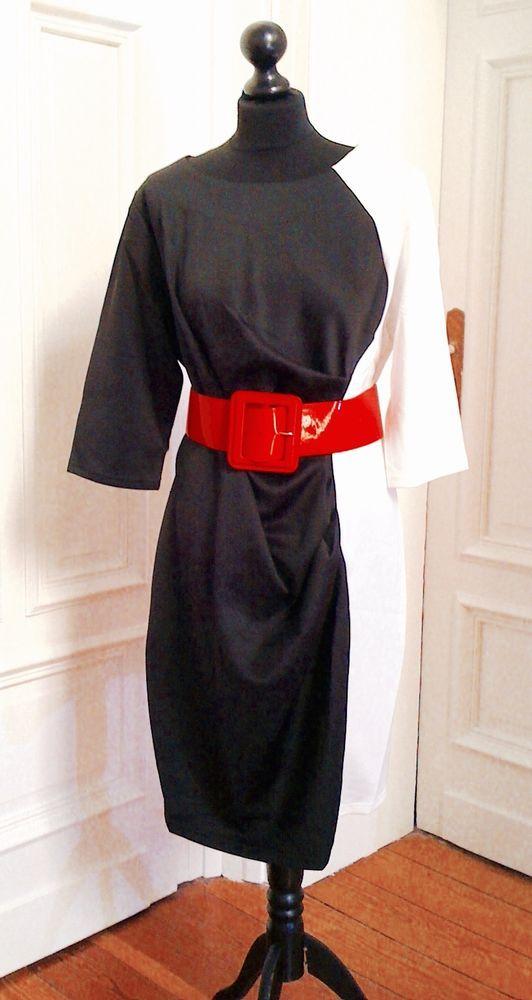 Damen-Kleid XL schwarz-weiß Stretch Übergröße Bodycon 39% Rabatt