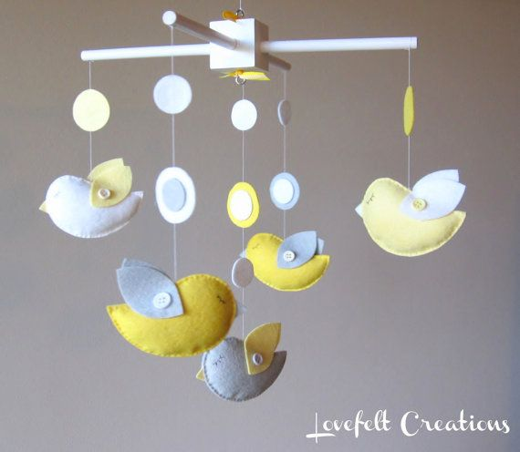 Are grey and yellow over? Not when they're this adorable! From http://www.etsy.com/listing/82428446/baby-crib-mobile-baby-mobile-bird-baby
