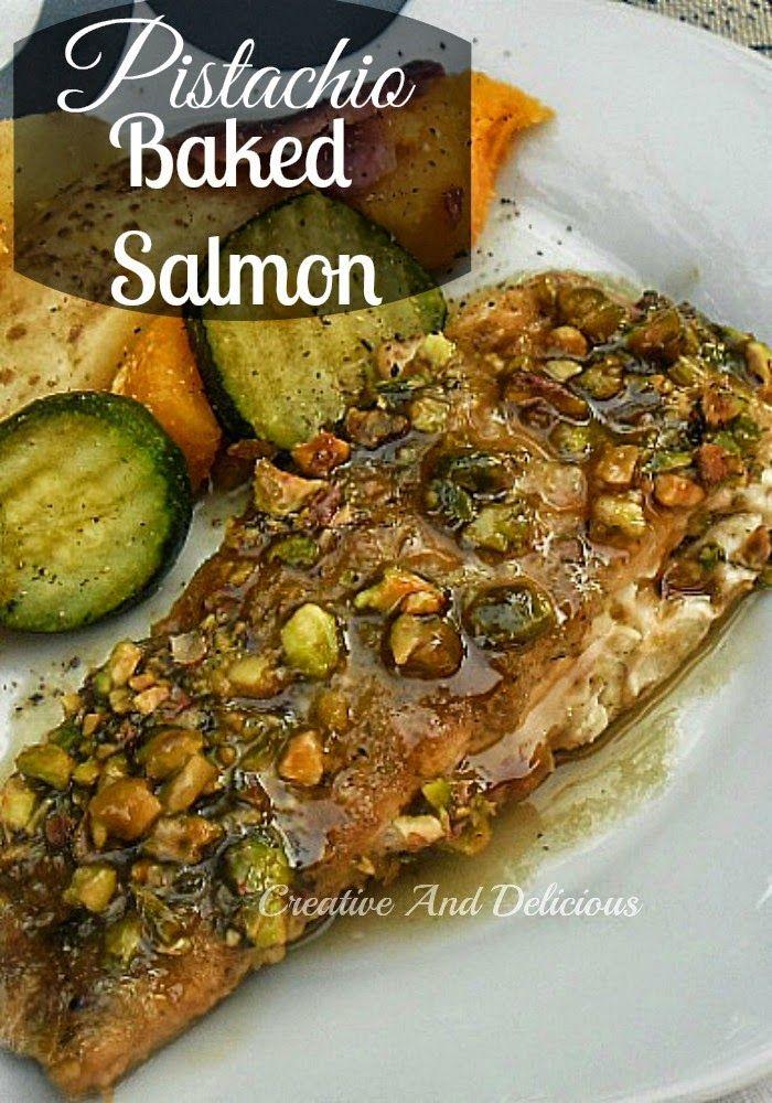 Pistachio Baked Salmon ~ Juicy, baked Salmon with a delicious Pistachio topping ! #Salmon #BakedSalmon #PistachioRecipe