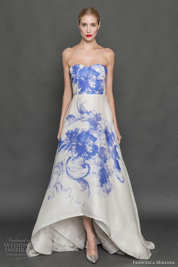 francesca miranda fall 2017 bridal strapless sweetheart neckline blue print high low mullet a  line wedding dress sweep train (nala) mv