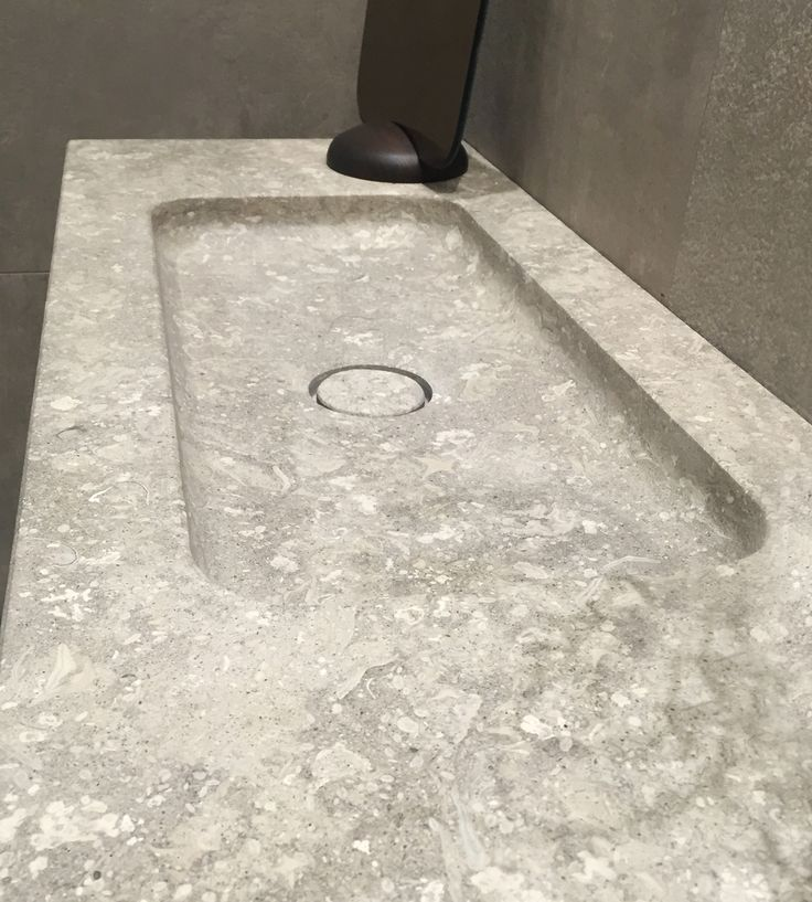 Under counter #washbasin in #Alpi #grey natural #stone! Thanks to Krüger Hannover for the showing.