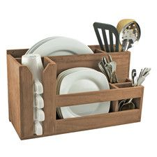Teak Utensil Holder: I'd like to permanently mount this on a slide-out shelf in one of the lower cabinets. Looks like a great way to organize a lot in a small space.
