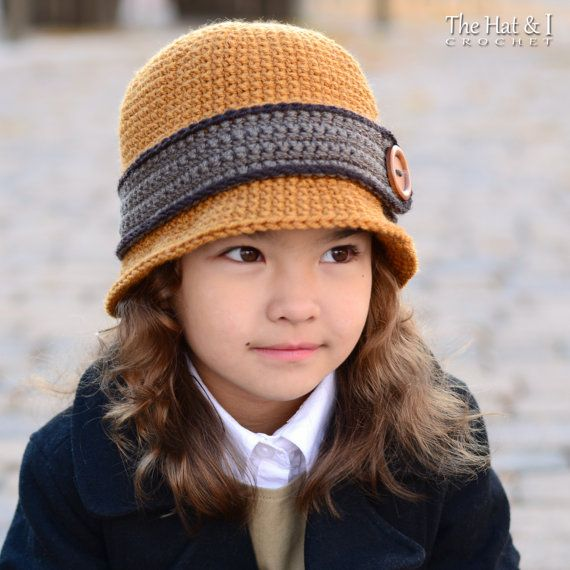 CROCHET PATTERN - Uptown Girl - a cloche hat pattern for girls and bowler hat for boys in 8 sizes (Infant - Adult L) - Instant PDF Download