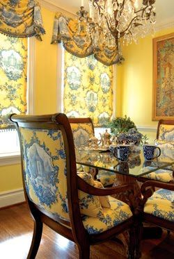 .Yellow and blue toile Chinese gazebo pattern bell swags and chair upholstery. Custom draperies and bedding available DesignNashville