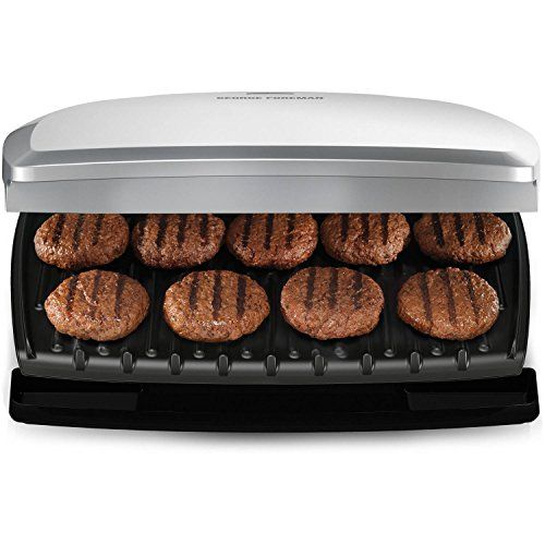 Family-Sized: Feed the whole family, with leftovers to spare! The 144 square inches of grilling surface lets you make up to nine servings at a time. Classic Plate Grill: This is the original George Foreman Grill. The durable grill plates give you lean, mean grilling power for all your favorite foods. Plus, it doubles as a Panini Press. George Tough Nonstick Coating: There's a lot to love about this nonstick coating. It's durable, easy to clean, and reduces the need for butter and oil....