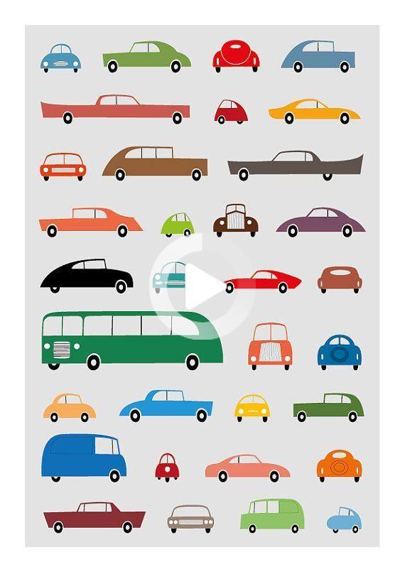 Car Poster Car Art Retro Wall Art Car Print Car Nursery Baby Room Print Retro Poster Nursery レトロポスター 赤ちゃんアート ヴィンテージイラスト