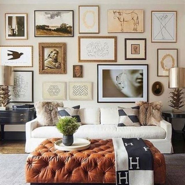 Now here is some gorgeous gallery wall inspiration via @ashleytstark. Great mix. . . . . . #kateabtdesign #interiordesign #design #gallerywall #artwork #ottoman #homedecor #styling #luxuryinteriors #lux #luxuryinteriors #instadesign #frames #leather #livingroom #lighting #table #lamps #pillows #hermesthrow
