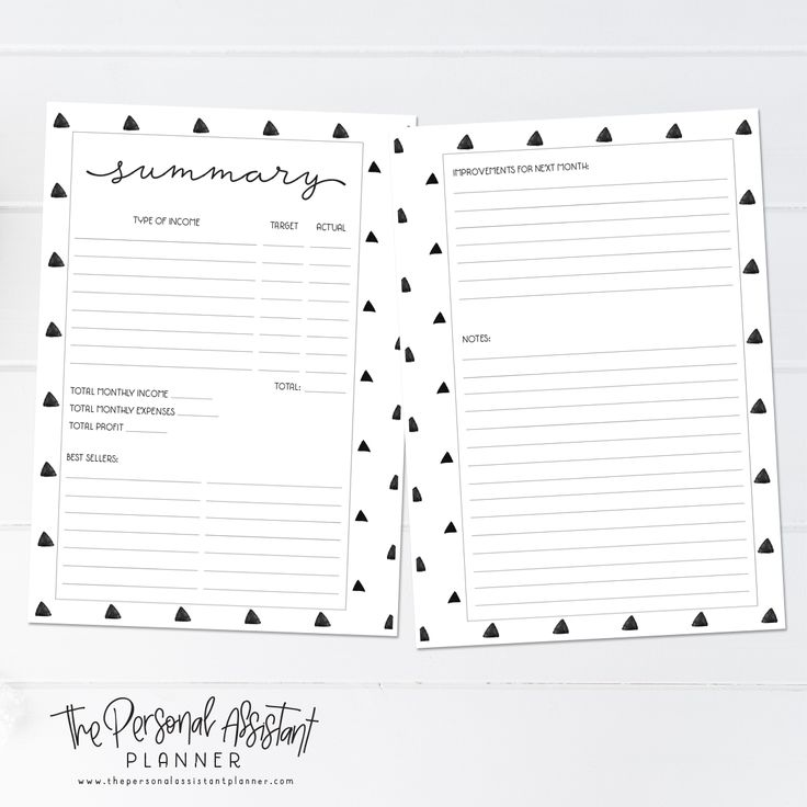 8.5x11 Financial Printable Business Planner Insert Pages - The Personal Assistant Business Planner - Income, Expenses, Sales Summary