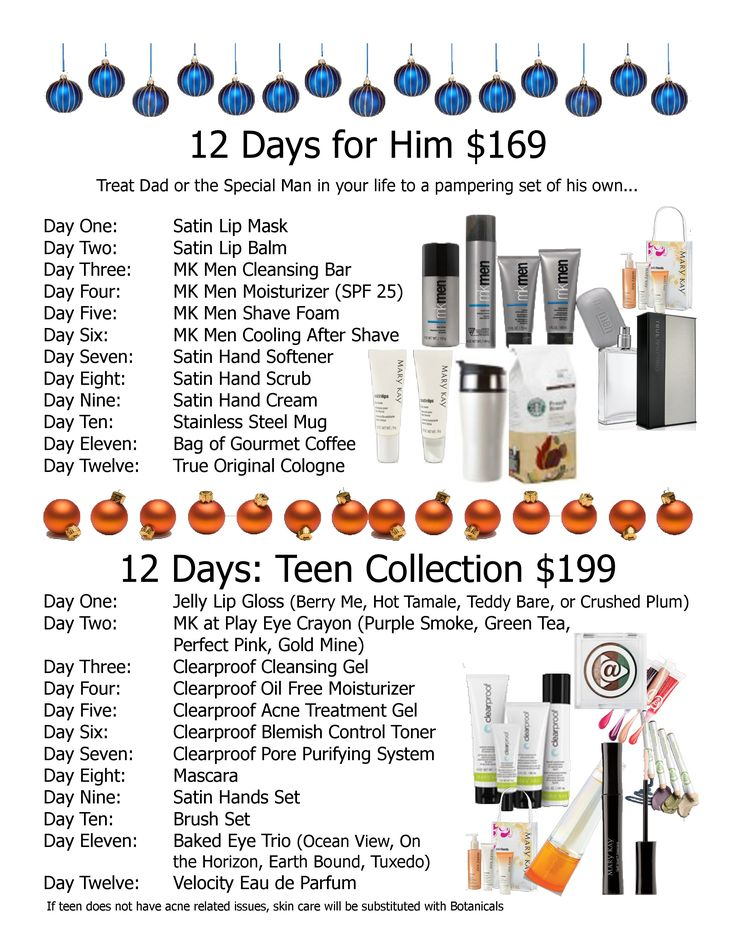 Let Mary Kay help you do a 12 days of Christmas for your hubby or teenager! Contact me for more info!