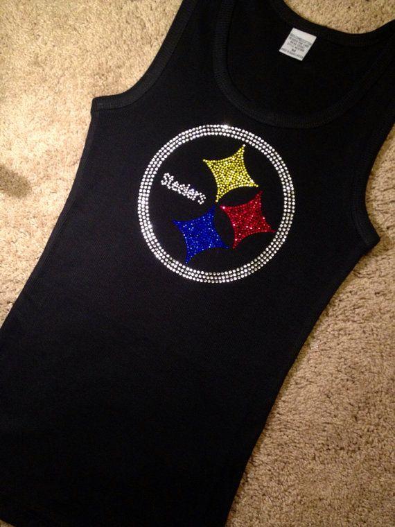 Pittsburgh Steelers Football Rhinestone Crystal Tank Top, NFL Football, Steelers shirt, Tailgating, Fantasy Football, S-3XL plus sizes too on Etsy, $24.95