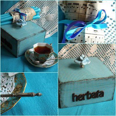 Czas na herbatę - turkusowe pudełeczko.