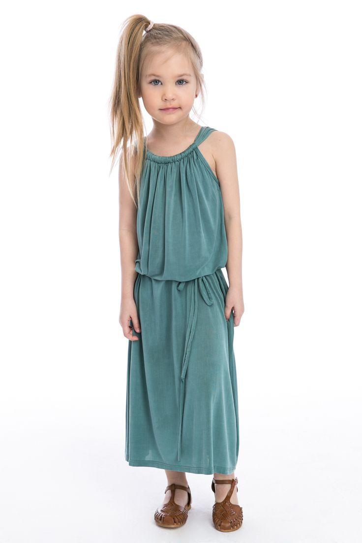 Turquoise long dress for girl  #Freddo #cupro #maxidress #summerdress #girldress