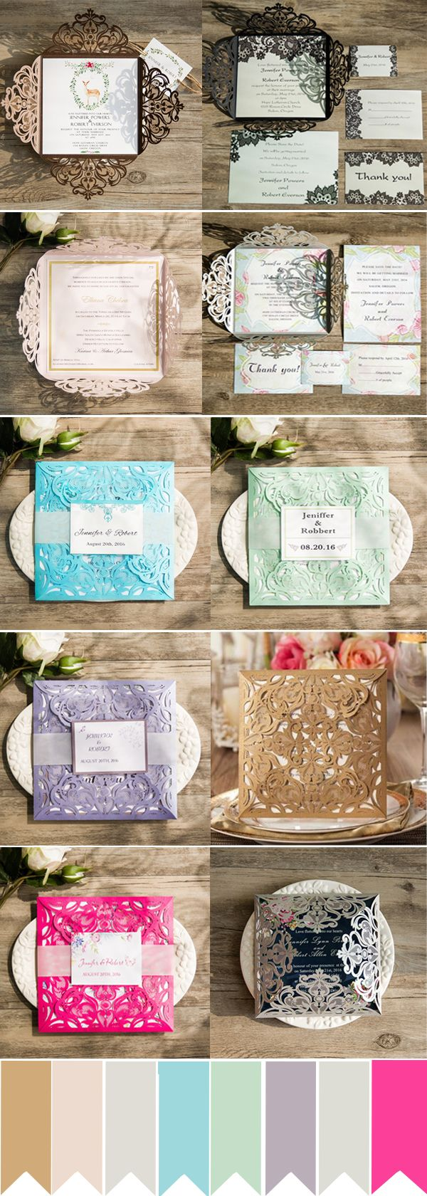 graceful laser cut wedding invitations