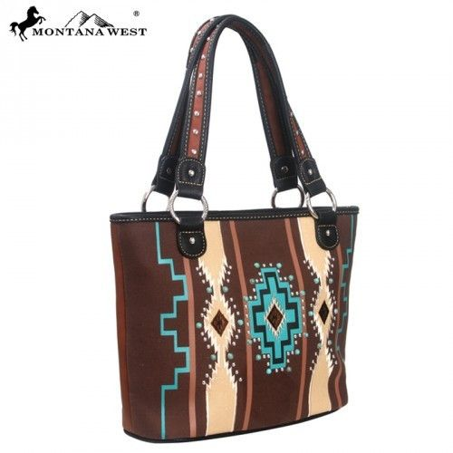 This Montana West Western Aztec Collection Tote Handbag features: - Colorful aztec design with studded double strap carry handles. - A zipper enclosure for the entire purse. Fully lined interior featu