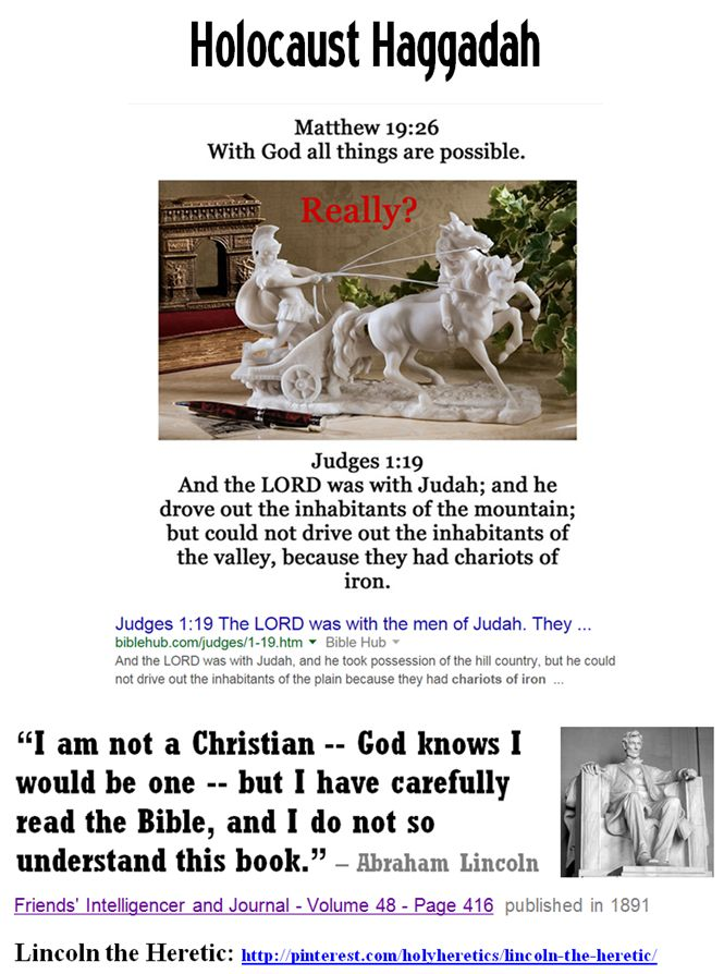 """The hiding idolatries, Zeus, Thor, Yahweh, Jesus and Allah..... """"At that season Jesus answered and said, I thank thee, O Father, Lord of heaven and earth, that thou didst hide these things from the wise and understanding, and didst reveal them unto babes:"""" Matthew 11:25 * Contrary to claims of holy-hate-manuals, Christian and Muslim babes are in no position to lecture the """"wise and understanding.""""  https://www.pinterest.com/pin/540924605222234944/ The infinite impotence of Yahweh: Iron…"""