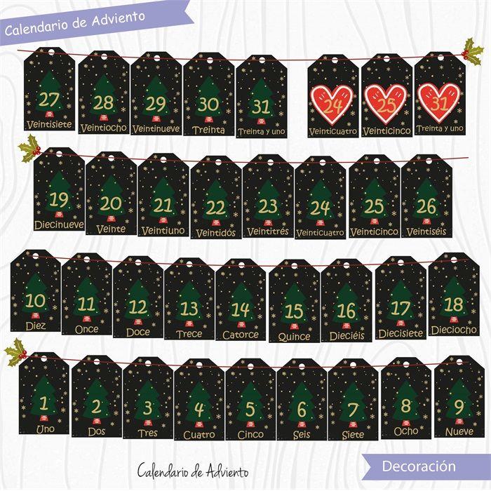 Calendario de Adviento Negro  #Fiesta #printables #niños #etiquetas #plantillas #niños