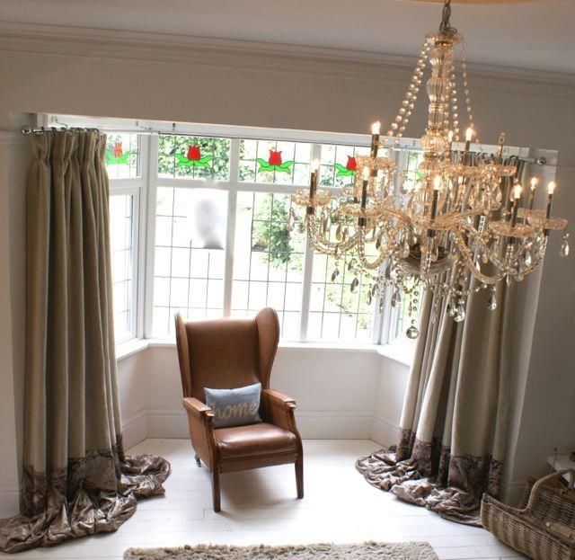 White Walls, White Wooden Floor, Open fire, Chandelier, Large Bay Window, Linen and Crushed Velvet Curtains by Vintage Swish