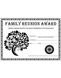 Reunited Family Reunion Awards™ by The Family Reunion Hut™ in black and white can be freely downloaded, distributed or printed for non-commercial use only; this includes family reunions, schools and other non-profit organizations.