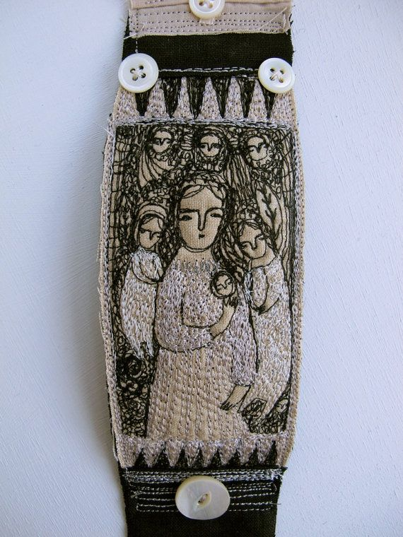 Pearly Dreamers - embroidery artwork - cuff or bracelet - wearable art