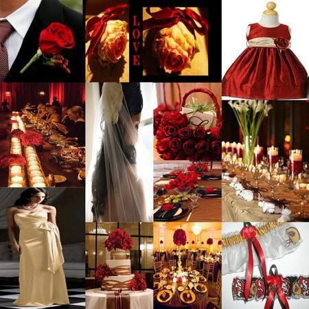 Elegant christams wedding colors wedding wedding color for Red gold wedding ideas