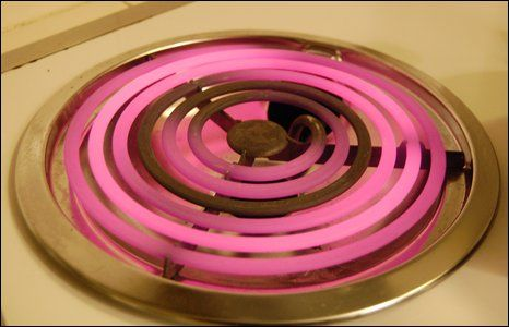 Pink coils on a stove.. Uh lovvvve