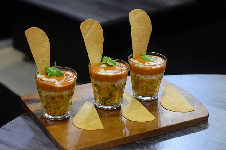 3 STATES >> Biryani, Paneer Makhni & Khakra served in shot glasses.  . #Place - THE MONOCHROME ...