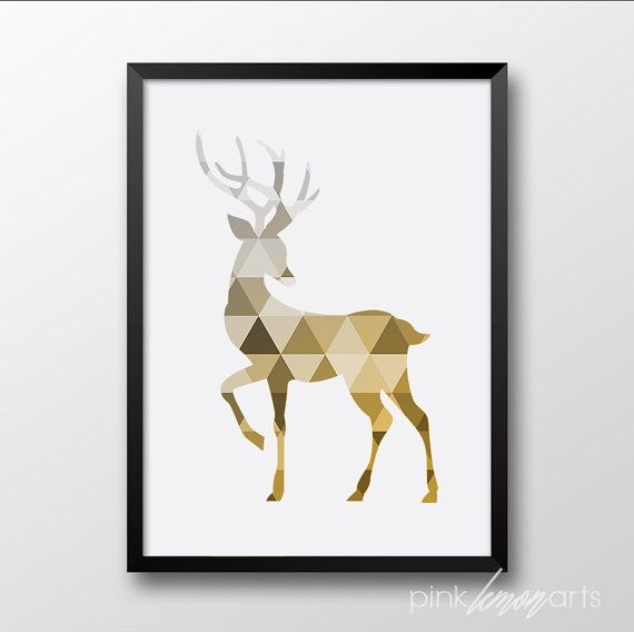 Deer Wall print, Gold Deer Printable, Gold Home decor, Animal Poster, Geometric Wall art, 11 x 14, 8 x 10, Instant download