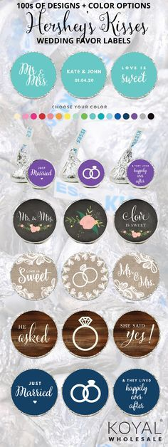 100s of Styles of Hershey Kisses Favor Sticker Labels for DIY Favors for Brides on a Budget Budget friendly wedding favor stickers for Hershey's Kisses, Lifesavers mints, and lollipops Hershey Kiss wedding favor labels custom hershey kiss stickers