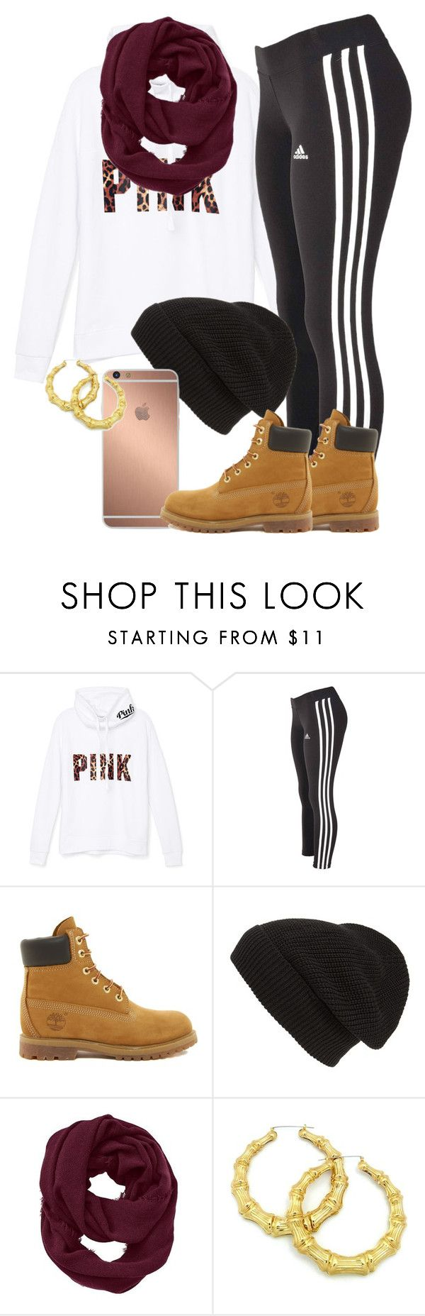 """""""My ootd"""" by thetruthdoesnothavetohurt ❤ liked on Polyvore featuring Victoria's Secret PINK, adidas, Timberland, Phase 3, Mura and Athleta"""