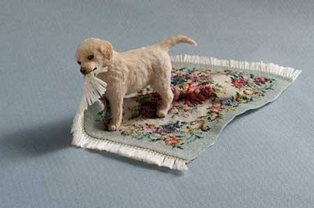 Elizabeth McInnis Miniature Animals-- I pinned him in my 'Dollhouse miniature Babies' board because of his mischievous nature, I thought he would go well in a busy dollhouse nursery.