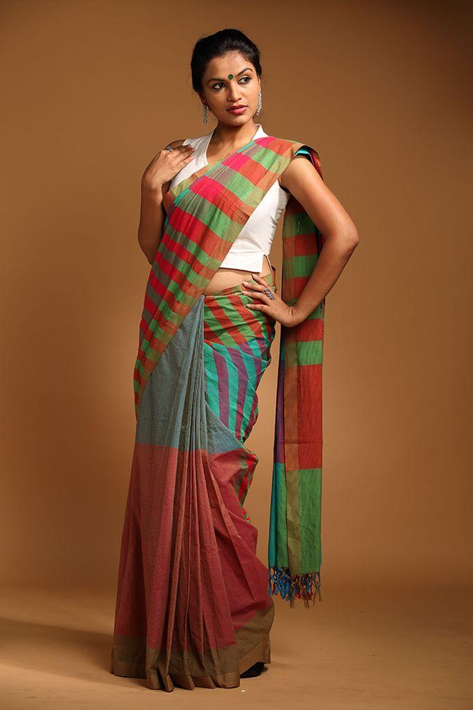 Office wear plain cotton saree