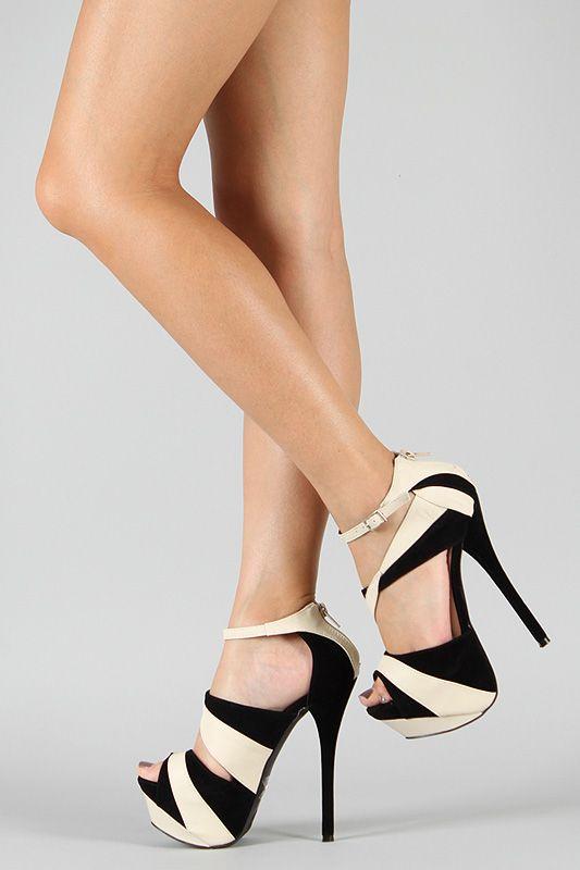 Liliana Reseda-12 Two Tone Platform Sandal ♥♦♣♠♥