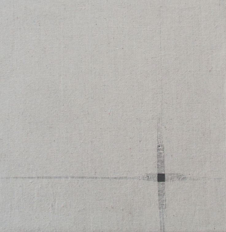 Punto. (ejercicio textil) Nicole Ovalle Garcés deshilado en crea. 20 x 20 cm. Marzo, 2014